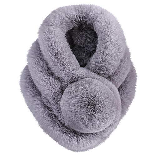 Moginp Damen Schal Mode Frau Verdicken Warme Winterschal Kunstpelz Halstuch (Gray)