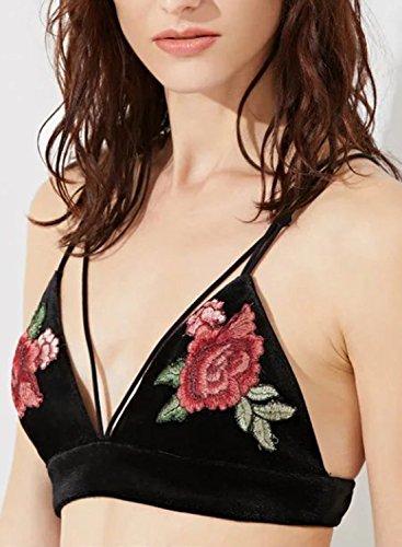 Futurino Damen Strappy Blumenstickerei Samt Crop Top Bustier Eine Farbe