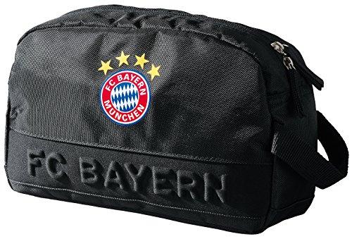 FC Bayern Kulturbeutel schwarz mit Ihrem Wunschtext in Wunschfarbe Glitzereffekt Schwarz