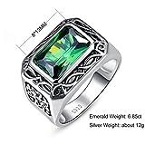 Bonlavie Ring Herren 925 Sterling-Silber Smaragd Schmuck Ehering Verlobungsring Hochzeits Ring, Größe 52 bis 71 - 6