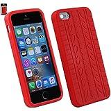 Emartbuy® Apple iPhone SE Tyre Pattern Silikon Haut Kasten Abdeckung Rot