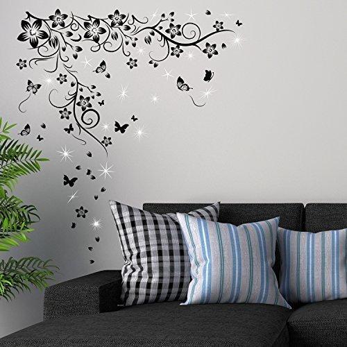 Wallflexi –adesivi da parete con cristalli swarovski e farfalla vine murale café hotel ristorante ufficio casa decorazione
