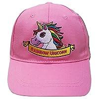 50Trading Girls 100% Cotton Rainbow Unicorn Baseball Cap (Light Pink)