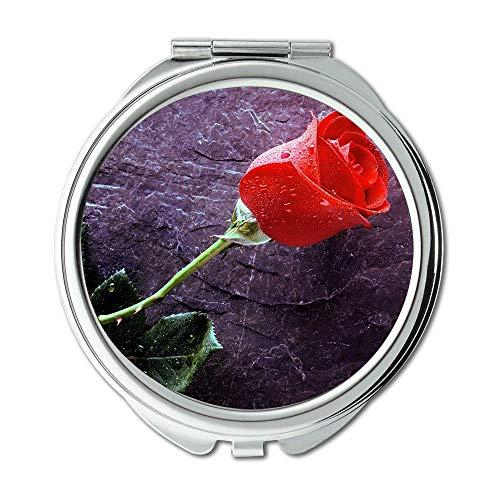 Yanteng Machte Eine Einzelne Rote Rose auf Stein Rosebud-OHS Brieftasche Spiegel, Schminkspiegel, Taschenspiegel (tragbarer Spiegel)