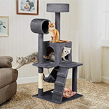 Yaheetech Árbol para Gatos Rascador con Plataforma Rascador Sisal Casa para Gatos 50cm x 50cm x 133cm