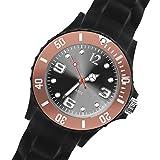 Taffstyle Damen Herren Sportuhr Armbanduhr Silikon Sport Watch Farbige Krone Analog Quarz Uhr 48mm XXL Schwarz Braun
