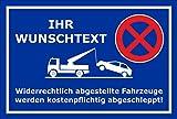 Schild Park-verbot - Parken verboten – Wunschtext - 45x30cm | mit Bohrlöchern | stabile 3mm starke Aluminiumverbundplatte – S00020A-E +++ in 20 Varianten erhältlich