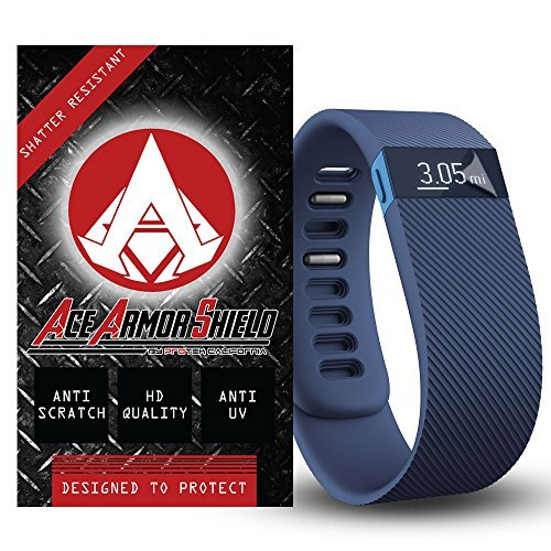 Ace Armorshield Ace Armor Shield Shatter Resistant Screen Protectors for the fitbit Charge HR / Military Grade / High Definition / Maximum Screen Coverage / Supreme Touch Sensitivity /Dry or