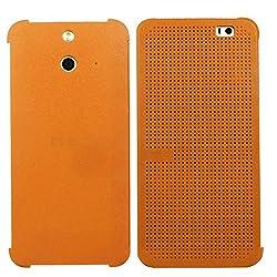 Heartly Dot View Touch Sensative Flip Thin Hard Shell Premium Bumper Back Case Cover For HTC One E8 - Soft Orange