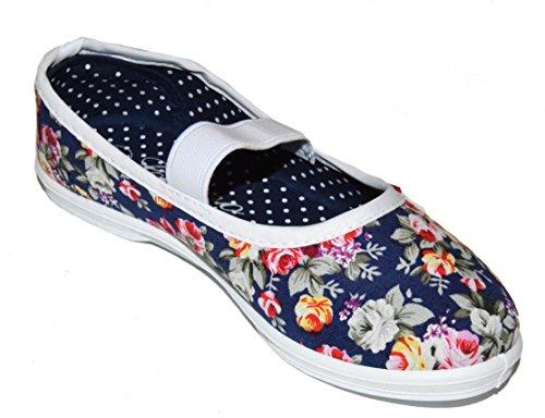 tmy 29225enfants Mary Jane Chaussures basses/fermée Ballerine, Couleur Bleu Marine/Rouge avec Fleurs Print Taille: 24–35 Multicolore - Navy/ Rot