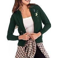 Yvelands Bordado de Las Mujeres de Punto de Manga Larga suéter Outwear Escudo Top Blusa