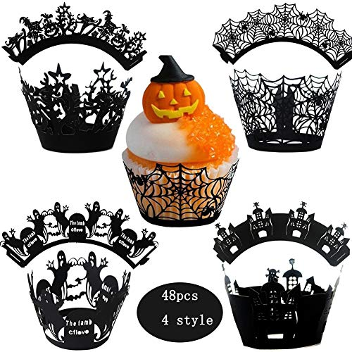 Halloween Kuchen Wrapper Cupcake Wrapper Ghost, Cobweb, Hexen, Castle Laser Cut Backen Kuchen Papier Backen Cup Muffin Case Trays für Dekoration Packung mit 48 Laser-cut-tray