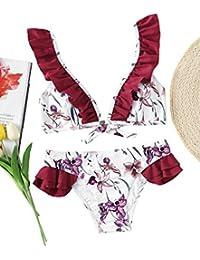 SOLYHUX Mujer Traje De Baño Bikini-Mujer Sujetador con Estampado y Volantes Bra Bikini Verano