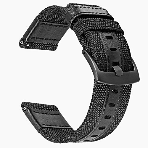 TRUMiRR 24mm Quick Release Woven Nylon Watch Band Genuine Leather Strap Sports...