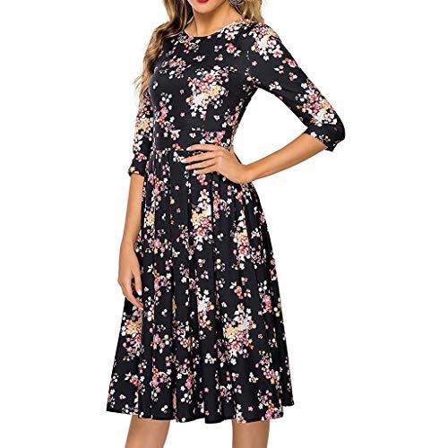 HWTOP Kleid Damen Abendkleid Vintage Ballkleider Hepburn Stil Partykleid 3/4 Ärmel Cocktailkleid Floral Print Grosse Grössen Freizeitkleid Elegant Midikleid, Schwarz -