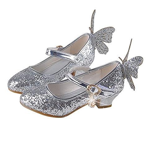 Brinny Enfants paillette Chaussures en Cuir Velcro 4-13 ans Fille Sandales Princesse Chaussures à haut talon volant Papillon, Argenté - 31