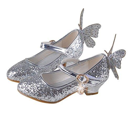 Brinny Mädchen Prinzessin Schuhe Glitter Paillette Kostüm Ballerinas Heels Schuhe Schmetterling Pumps festliche Hochzeit, Silber - 28