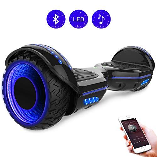 RCB Scooter Elettrico da 6,5 Pollici con LED Bluetooth su ruote brillante Auto bilanciamento 6.5'' Lampeggianti Bluetooth per Adulti e Bambini