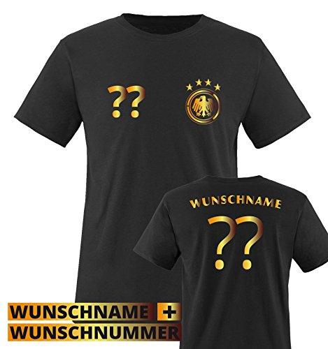 TRIKOT – DE – WUNSCHDRUCK – Kinder T-Shirt – Schwarz / Gold Gr. 152-164