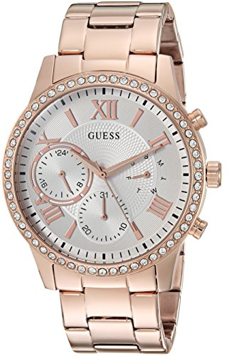 Guess Women's Stainless Steel Crystal Casual Watch, Color: Rose Gold-Tone (Model: U1069L3)