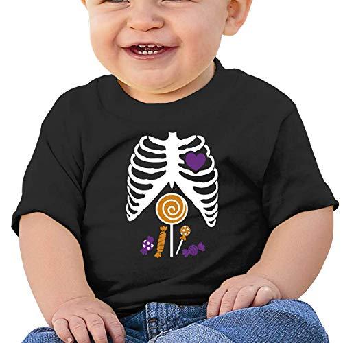 Skeleton Candy Rib-cage X-Ray Halloween Funny Baby Short Sleeve Crew Neck T-Shirt Candy Girls Baby Rib T-shirt
