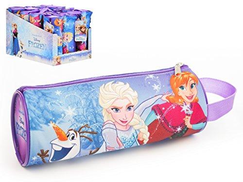 Estuche de tela cilindrico con asa medidas 20 X 8 X 8,5 cm diseño Frozen