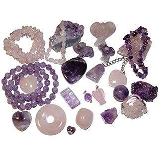 Exclusive 24 Edelsteine und Mineralien Schmuck Teile zum Befüllen Adventskalender für die DAME / Frau aus Rosenquarz und Amethyst