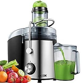 Centrifuga Frutta e Verdura, Aicok 800W Estrattore di Succo a Freddo con 75MM Bocca Larga, Centrifuga in Acciaio Inox a Doppia Velocità con Funzione Antigoccia, Facile Pulizia, Senza BPA