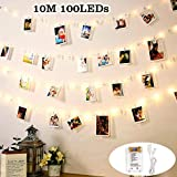 Luces de Cadena DazSpirit LED Photo Clip Para Habitación, USB y Batería 100 LED 10M con 50...