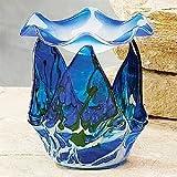 StealStreet ss-a-55235mármol Grano Tulip de Cristal Quemador de Aceite, Color Azul