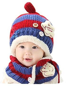 BUOCEANS Weihnachten Mütze Set, Wolle Gestrickte Schal Mützen,  Earflap Hut Kappe Schnee, Baby Strickmütze Wintermütze...