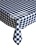 Gingham Black PVC Tablecloth, Easy Clean Table Cloth, Wipe Clean Vinyl Table Linen, Kitchen Dinner Party Tableware, Country Check Design Table Cover, Black & White, 137cm x 200cm