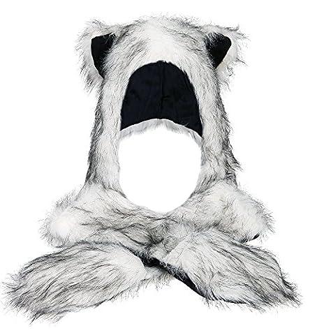 Très Chic Mailanda Fell Mütze Damen Kapuzenschal Winter Plüschmütze Tiermütze Ohren mit Handschuhe Schal Kunstfell (One SIze, Husky (Weiss mit Schwarz))