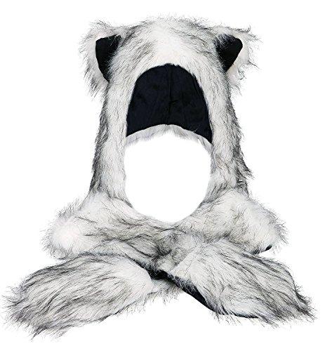 Tres Chic Mailanda - Gorro de piel sintética con bufanda y guantes incorporados para mujer, diseño con orejas de animal Husky (Weiss mit Schwarz) Talla única