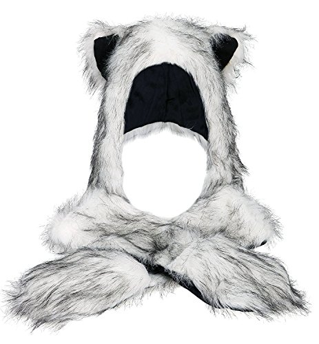 Très Chic Mailanda Fell Mütze Damen Kapuzenschal Winter Plüschmütze Tiermütze Ohren mit Handschuhe Schal Kunstfell (One SIze, Husky (Weiss mit (Husky Kostüme)
