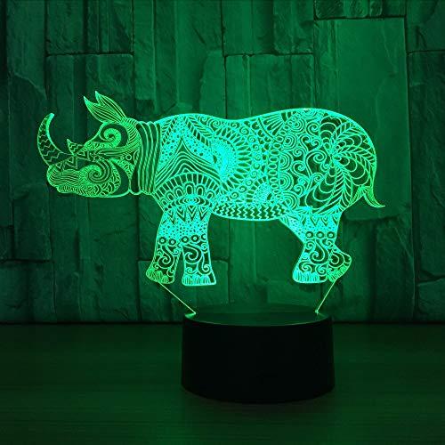 Gwgdjk Rhino 3D Kleine Nacht Lampe Hersteller Bunte Bunte Led Nachtlicht Intelligente Dekoration 3D Leuchten Drop Shipping