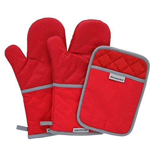 KitchenAid 100% Baumwolle Schwere Ofen Handschuh 3er Set mit rutschfesten silikon Griff rot Kommerzielle Pizza Cutter