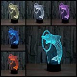 3D Lampe Optical Illusion Visuelle Led Night Light, Elsley Dolphin Incroyable 7 Couleurs Changement Tactile lumières de Commutation Sensible Avec Acrylique Plat, ABS Base de Plastique, Charge USB Pour Home Decor