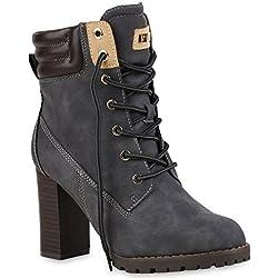 Damen Schnürstiefeletten Stiefeletten Worker Boots Wildleder-OptikHalbhohe Stiefel Schnürer Wildleder-Optik Schuhe 122663 Grau 40 Flandell