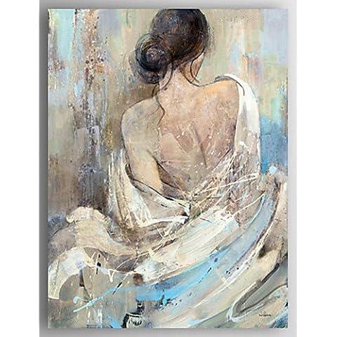 OFLADYH ® pittura ad olio persone moderne posteriore di una donna la mano di tela nuda dipinta con allungata incorniciate