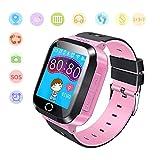 Jslai Niños Smartwatch Relojes, GPS/LBS Kids Smart Watch de Alarma SOS Infantil Relojes de Pulsera Cámara Reloj móvil Mejor Regalo para Niño niña de 3-12 años Compatible con iOS/Android