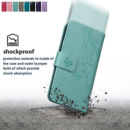 """Hülle für iPhone 7/8, xhorizon Blumenschmetterling magnetische umklappbare Brieftasche Schutzhülle mit Standfunktion und Kartensteckplätzen aus geprägtem PU-Leder für iPhone 7 / iPhone 8[4.7""""] Grün + Stylus + Staubstecker"""