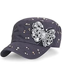 ililily Vintage Distressed Cotton Army Hat Laced Butterfly Military Cadet Cap