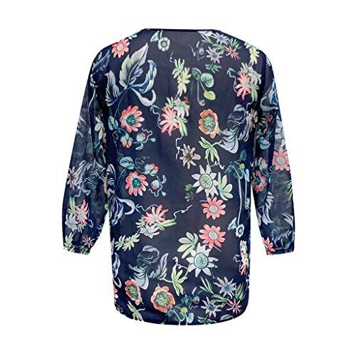 TEFIIR T-Shirt für Frauen, beiläufige Mitgliedertag Sommer-Räumungsabwicklung,günstige Preisaktion lose Hülse mit DREI Vierteln V Ansatz Chiffon- Blumendruck-Blusen-Oberseiten Freizeit und Dating -