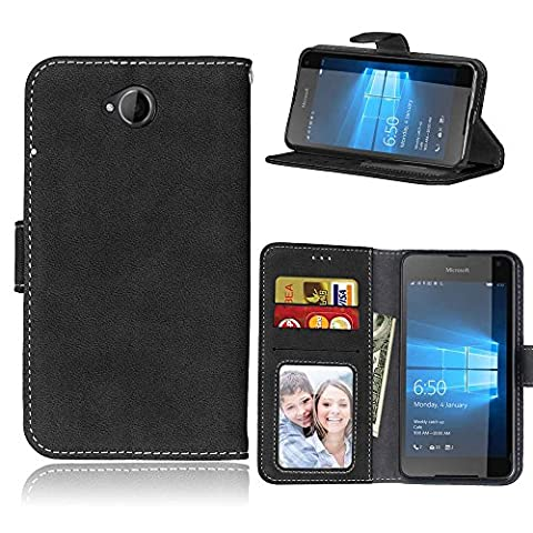 Microsoft Lumia 650 N650 Case Leather, Ecoway Retro Scrub PU Leather Stand Function Protective Cases Covers with Card Slot Holder Wallet Book Design for Microsoft Lumia 650 N650 -