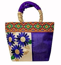 Adrian Kashmiri Trendy Floral Print Wrist Bag For Women/Girls (Blue)