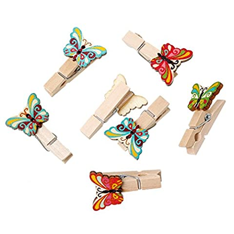 Souarts Mixed Butterfly Shape Pattern Wood Clothespins for Game Favors Craft Pack of 50