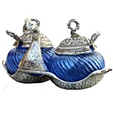 Rajasthan Handicrafts Oxidized White Silver Metal Double Duck Bowl Handmade Handicraft For Home Decor Gift Item