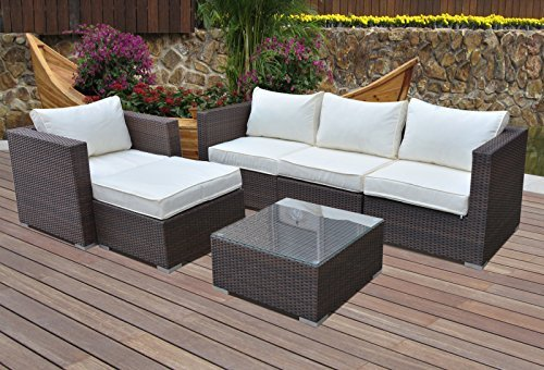 Hansson Sports Gartenmöbel, Polyrattan Lounge Sitzgruppe, braun, 4 ...
