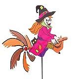 HQ Windspiration 100898 - Spinning Witch, UV-beständiges und wetterfestes Windspiel - Höhe: 100 cm, Tiefe: 75 cm, Besen-Ø: 54 cm, inkl. Standstab und Bodenanker